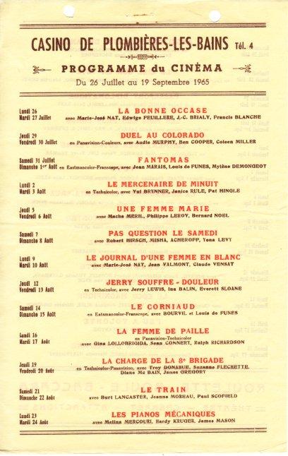 Programme Cinéma 1965