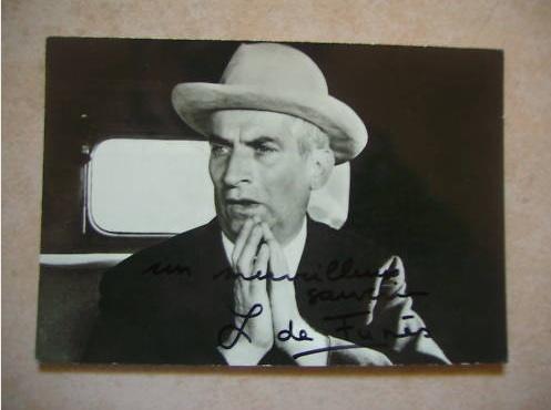 Fausse dédicace autographe Louis de Funès
